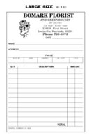 Picture of LARGE SIZE TRIPLICATE SALES SLIPS  (NOT NUMBERED) (FOR FLORIST), Picture 1