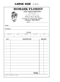 Picture of LARGE SIZE TRIPLICATE SALES SLIPS  (NOT NUMBERED) (FOR FLORIST)