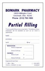 Picture of PERSONALIZED SINGLE PARTIAL FILLING FORMS (P2)