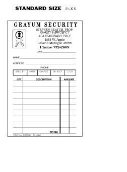 Picture of SINGLE SALES SLIPS (3 1/8 X 5) (FOR LOCKSMITH)