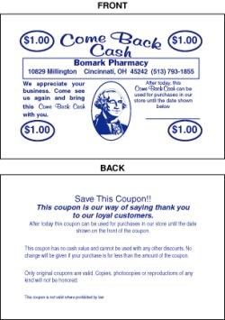 Picture of COME BACK CASH COUPONS