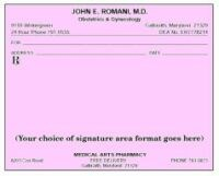 Picture of SINGLE IMPRINTED PRESCRIPTION BLANKS  LAYOUT FORMAT BO (Colored Paper)