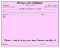 Picture of SINGLE IMPRINTED PRESCRIPTION BLANKS  LAYOUT FORMAT DS (Colored Paper)