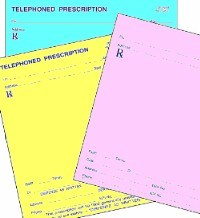 Picture of STOCK PRESCRIPTION BLANKS (singles) on colored paper