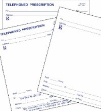 Picture of STOCK PRESCRIPTION BLANKS (singles) on white paper